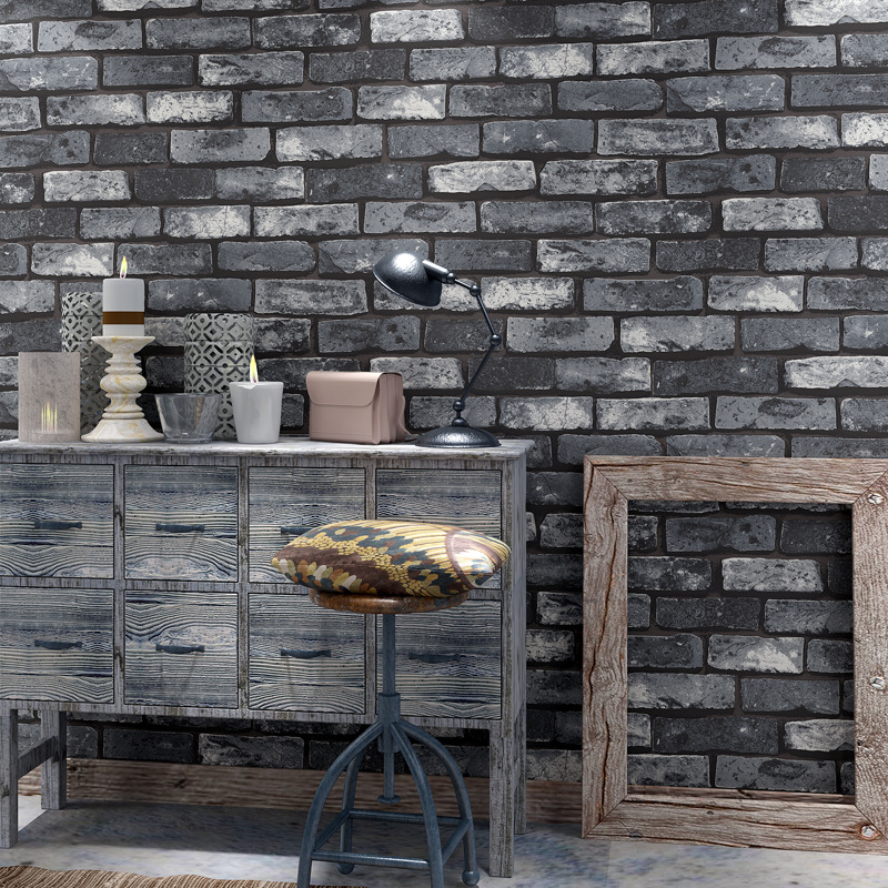 3D Retro Brick Gray Brick Characteristics Brick Pattern Brick Wallpaper Hotel Restaurant Barber Shop Antique Brick Wallpaper Spe