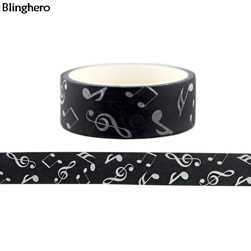 Blinghero Music Note 15mmX5m Black Decals Personalized Pattern Tape Stickers Washi Tape DIY Masking Tape Adhesive Tapes BH0145