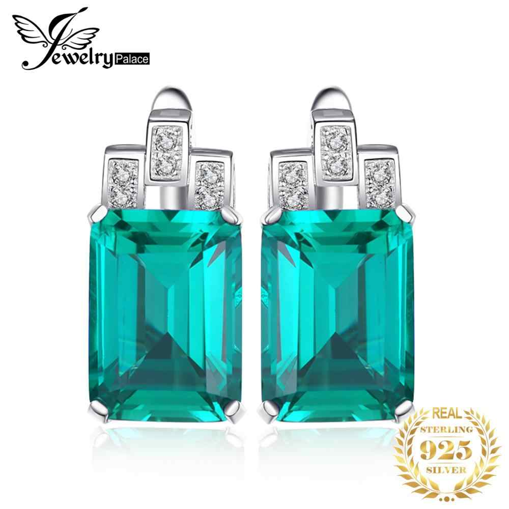 8ct Simulated Nano Emerald Hoop Earrings 925 Sterling Silver Earrings For Women Gemstones Korean Earings Fashion Jewelry 2020