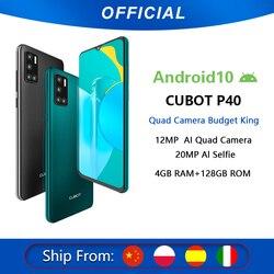 Cubot P40 arrière Quad caméra 20MP Selfie Smartphone NFC 4GB + 128GB 6.2 pouces 4200mAh Android 10 double carte SIM téléphone portable 4G LTE
