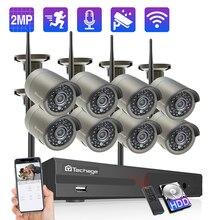 Techage 8CH 1080 1080pワイヤレスnvr cctv ipカメラシステム2MPオーディオ録画のwifiカメラ屋外irカットビデオセキュリティ監視キット