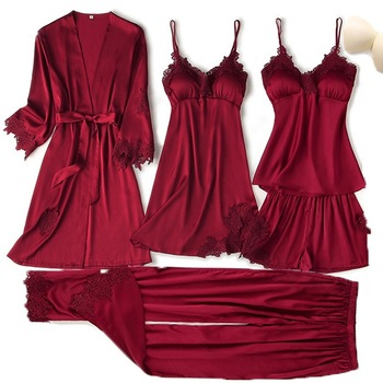 Satin Touch Pajama Set With Lace Trim 1