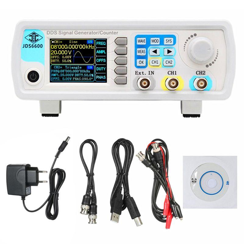 Compteur de générateur de Signal numérique DDS 60MHz fonction double canal compteur de fréquence de balayage d'impulsion de forme d'onde arbitraire JDS6600 prise ue