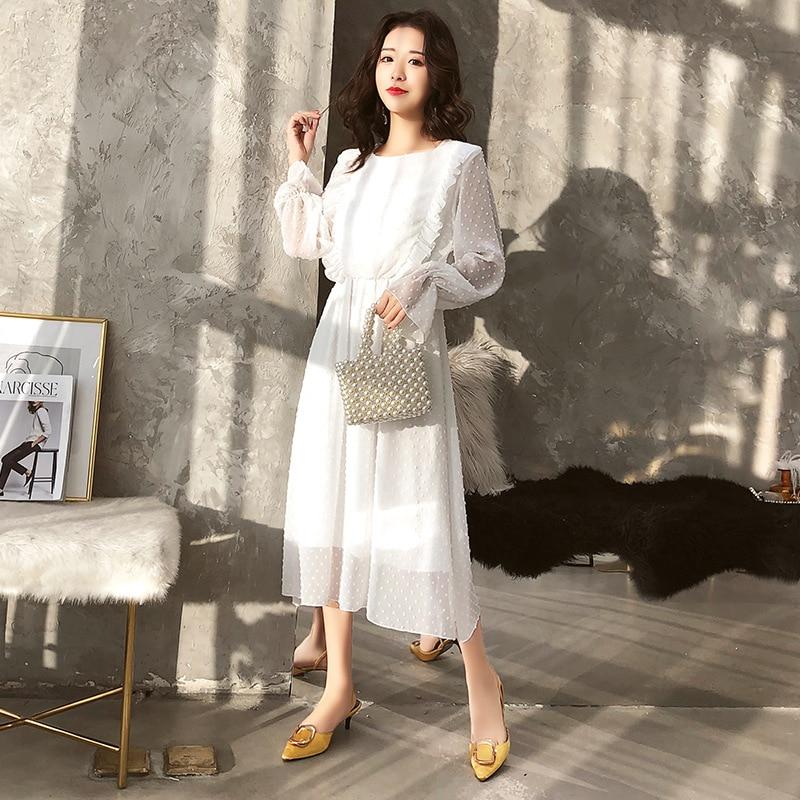 Spring Summer Chiffon White Dress Women Mid-Calf Ruffle Sleeve Dress Sweet Slim Summer Dress Casual Ladies Holiday Party Dress