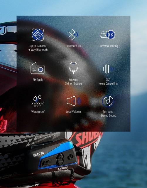 Lexin Motorcycle Bluetooth Helmet Headset Intercom 4 Riders 1600M  Wireless BT Intercomunicador Moto B4FM Intercomunicadores de casco