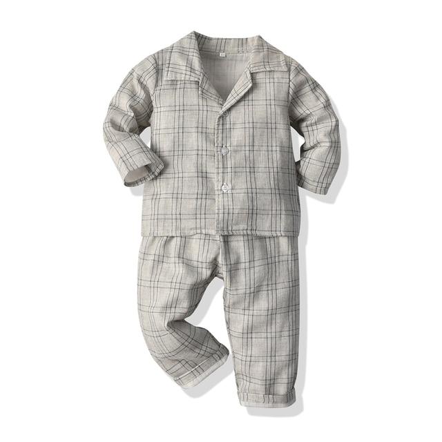 Haut et haut enfants Pyjamas garçons filles grille coton vêtements de nuit 2 pièces Pyjamas bébé décontracté és enfant en bas âge vêtements pour bébé 3m-12m