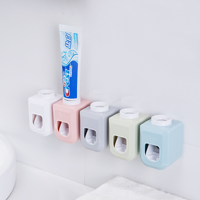 Luluhut Automatic Toothpaste Dispenser Wall Mounted Toothpaste Squeezer Tooth Paste Wall Mount Rack Bathroom Toothpaste Holder