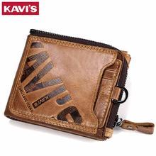 KAVIS Crazy Horse Genuine Leather Wallet Men Coin Purse Male