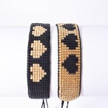 Rttooas MIYUKI Beads Bracelet Black Japan Handmade Woven Charm Bracelets Heart-shape Cuff Fashion Jewelry