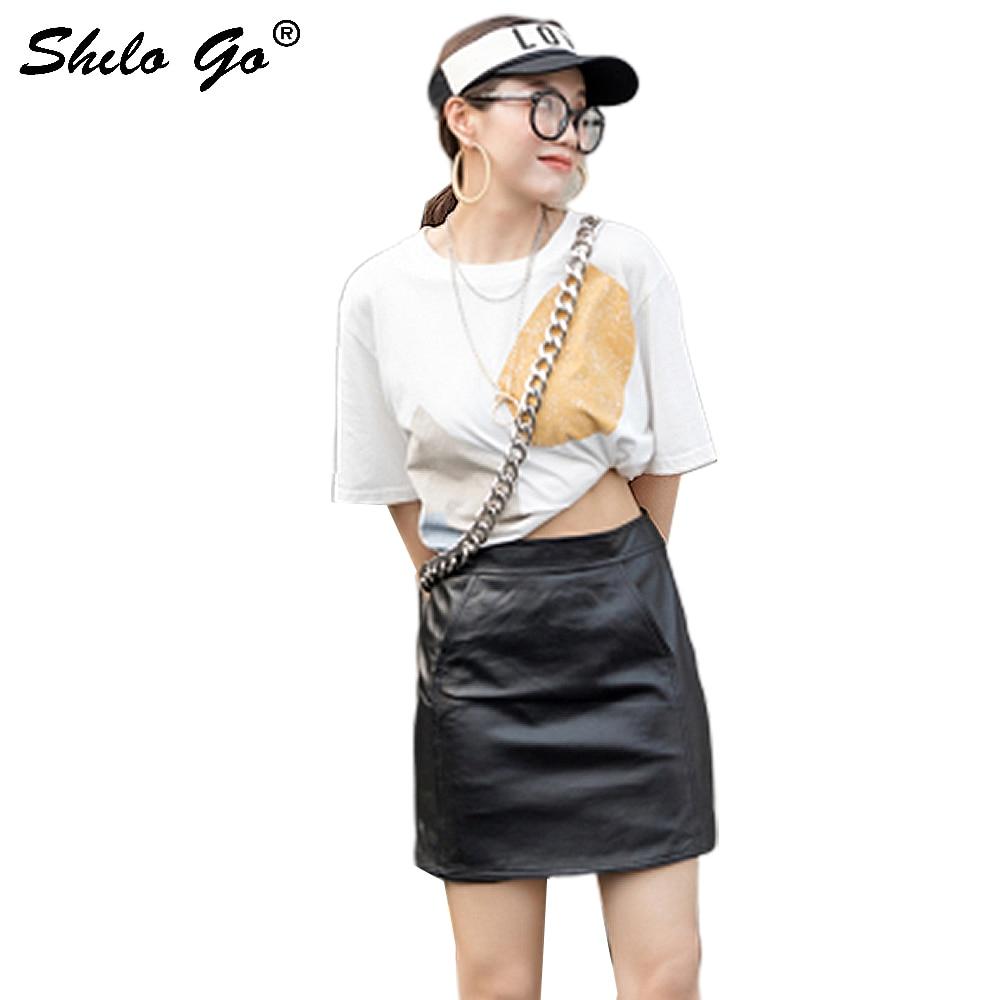 Genuine Leather Skirt Black Minimalist Office Lady Workwear Skirt Women Autumn Elegant High Waist Solid Side Pocket Pencil Skirt
