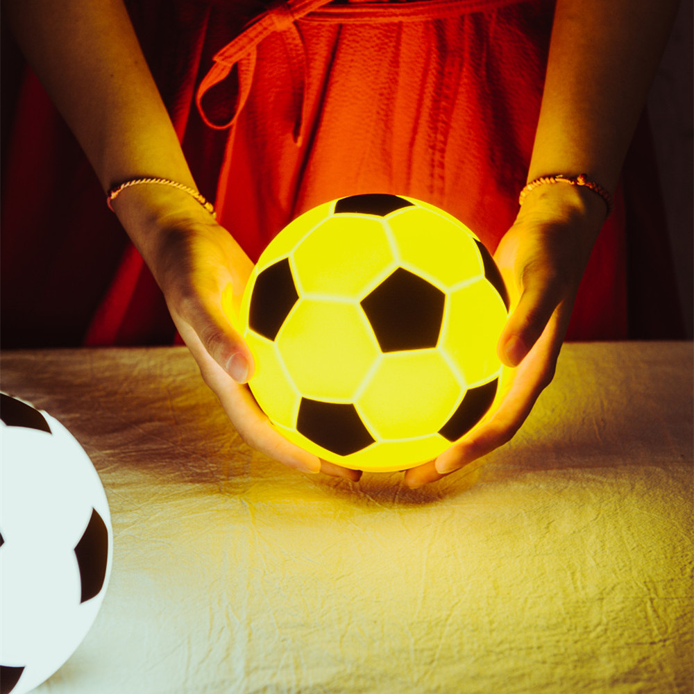 Football Touch Lamp Creative Dimmable LED Night Light USB Recharageable Silicone Ball Night Lamp For Children Kids Baby Toy Gift
