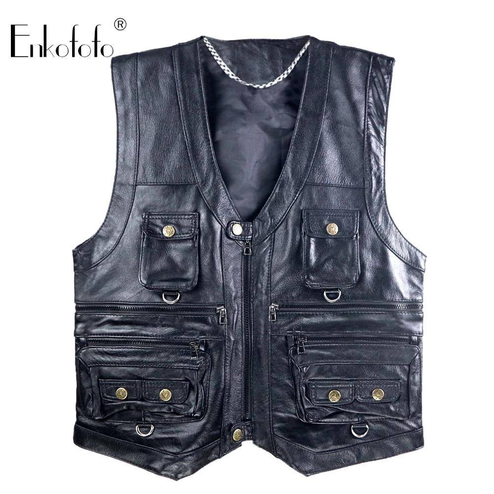 Mens Leather motorcycle Photographer Vest Rock punk Multi-pocket Retro Waistcoat