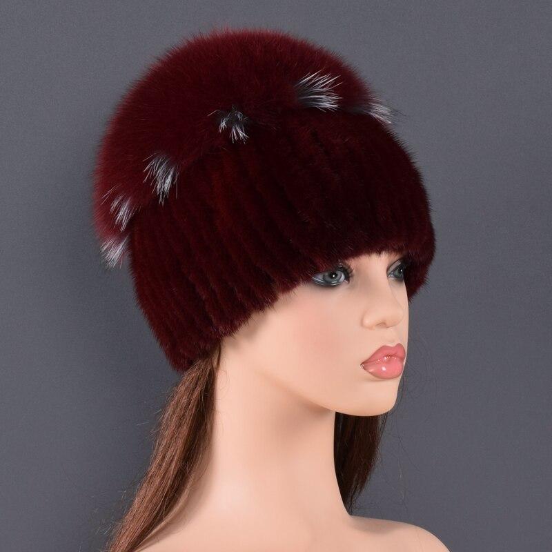 Sombrero de piel de visón de alta calidad para mujeres sombreros de piel de visón natural con pompones grandes de lujo de piel de zorro las mujeres de dama ir - 4