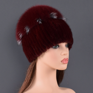 Image 4 - high quality Mink Fur hat for women natural Mink Fur Hats with Luxury Big Pompom Fox Fur Ball Beanies winter womens cap lady go