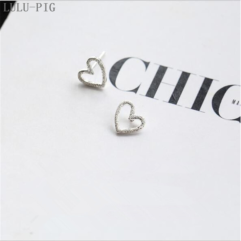 LULU-PIG New User BONUS Hollow out heart heart earrings ear nail female 925 pure silver temperament day Korea CED009 image