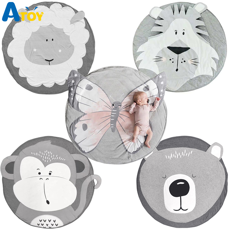 Ins Cartoon Baby Play Mats Pad Toddler Kids Crawling Blanket Round Carpet Rug Toys Mat For Children Room Decor Photo Props
