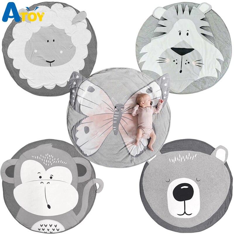 Ins dos desenhos animados do bebê jogar esteiras almofada da criança crianças rastejando cobertor tapete redondo brinquedos para crianças decoração do quarto foto adereços