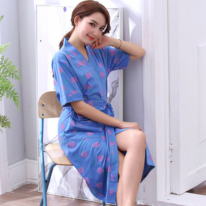 Image 3 - Robe Womens Summer Short Sleeves Bathrobe Plus Size Bath Robe Belted Women Kimono Lavender Floral Cotton Lingerie Kimono Robes