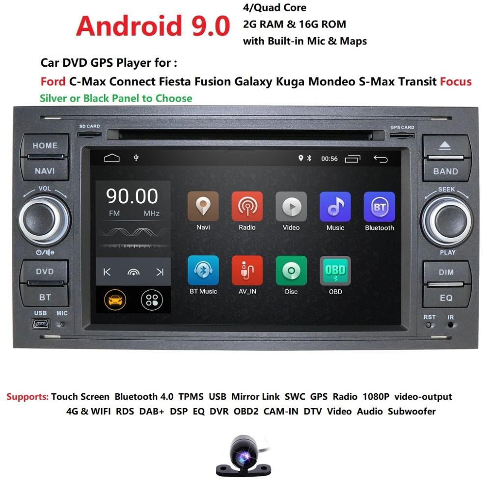 Frete grátis! Android 9.0 multimídia Carro dvd Player GPS Navi Para C-Max Connect Mondeo-S Max Foco Fusão Fiesta Galaxy Kuga RDS