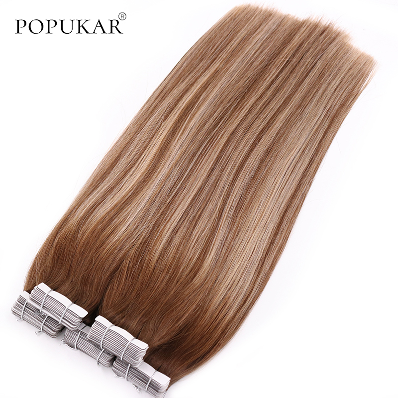 Popukar Adhesive Double Sided Ombre Tape Hair 20pcs 50g Machine Made Remy Tape Hair Extensions