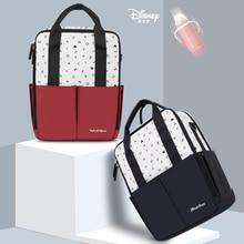 Disney с буквенным принтом с Микки Маусом и Минни Маус комплект красные, черные USB сумка для подгузников рюкзак Водонепроницаемый по уходу за ребенком/Мумия спальный мешок Материнские Сумки Большая сумка для подгузников