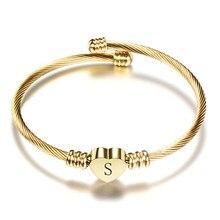 Nextvance-pulsera de corazón de acero inoxidable para chicas, Color dorado, con letras, iniciales de moda, dijes del alfabeto, pulseras para mujeres