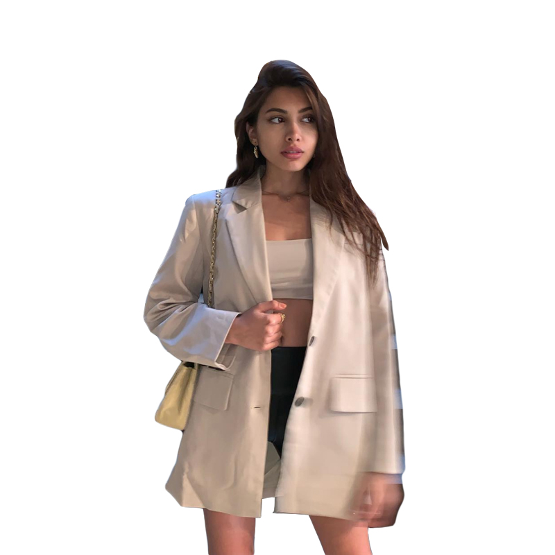 Hot Sale 2019 Autumn New Ins Fashion Women's Classic Solid Full Slim Single Breasted Notched Casual Wild Coat Blazer Feminino