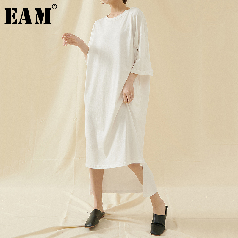[EAM] Women Multicolor Back Long Big Size T-shirt New Round Neck Three-quarter Sleeve  Fashion Tide  Spring Summer 2020 1T599