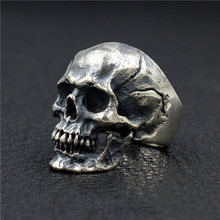 925 Sterling Silver High Detail Skull Ring Mens Biker Punk Ring J50 US Size 7~11 linsion handmade 925 sterling silver mens biker rock punk blue cz eyes skull ring ta61 us size 7 15