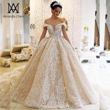 Vestido Amanda Design novia largo con hombros descubiertos y Apliques de encaje, color champán
