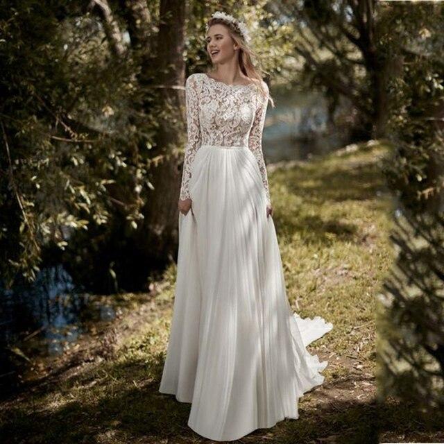 Lace Chiffon Boho Wedding Dresses Long Sleeves 2020 Open Back Robe de mariee Vintage Beach Floor Length White Ivory Bridal Dress
