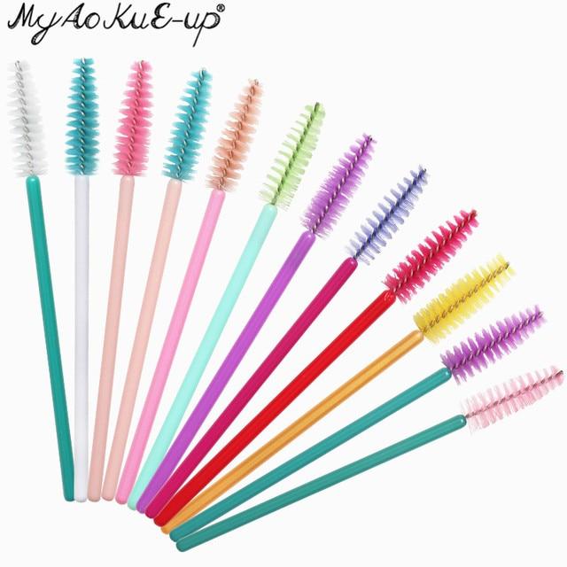 50pcs New Arrivals Eyelash Brushes Soft Head For Eyelashes Eyebrow Applicator Mascara Wand Microbrush brushes Makeup Brushes 1