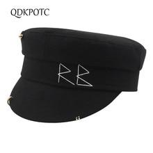 2020 Hat Autumn Winter New Women Wool Military Hats Fashion Hand Sew Letter Navy Hat Casual Street Travel Flat Cap QDKPOTC
