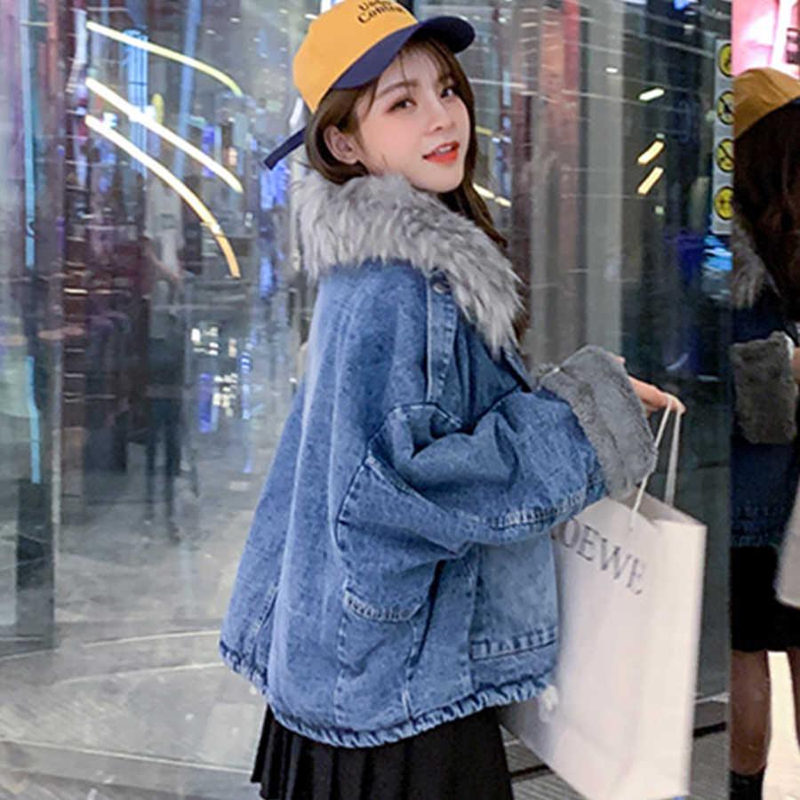 Futro kołnierz bawełniana podszewka zimowe kurtki jeansowe kobiety moda zagęścić ciepłe płaszcze dżinsowe kobiece Harajuku Plus rozmiar kowbojskie kurtki