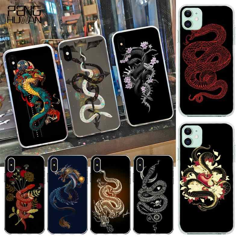 Penghuwan Bloem Draak Slang Coque Shell Telefoon Case Voor Iphone 11 Pro Xs Max 8 7 6 6S Plus X 5S Se 2020 Xr Cover