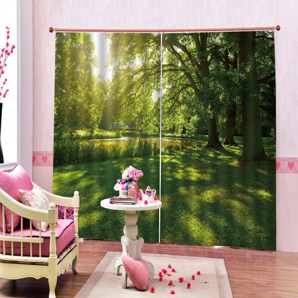 3D Window Curtain Green woods meadow creek Luxury Blackout Living Room office Bedroom Customized size