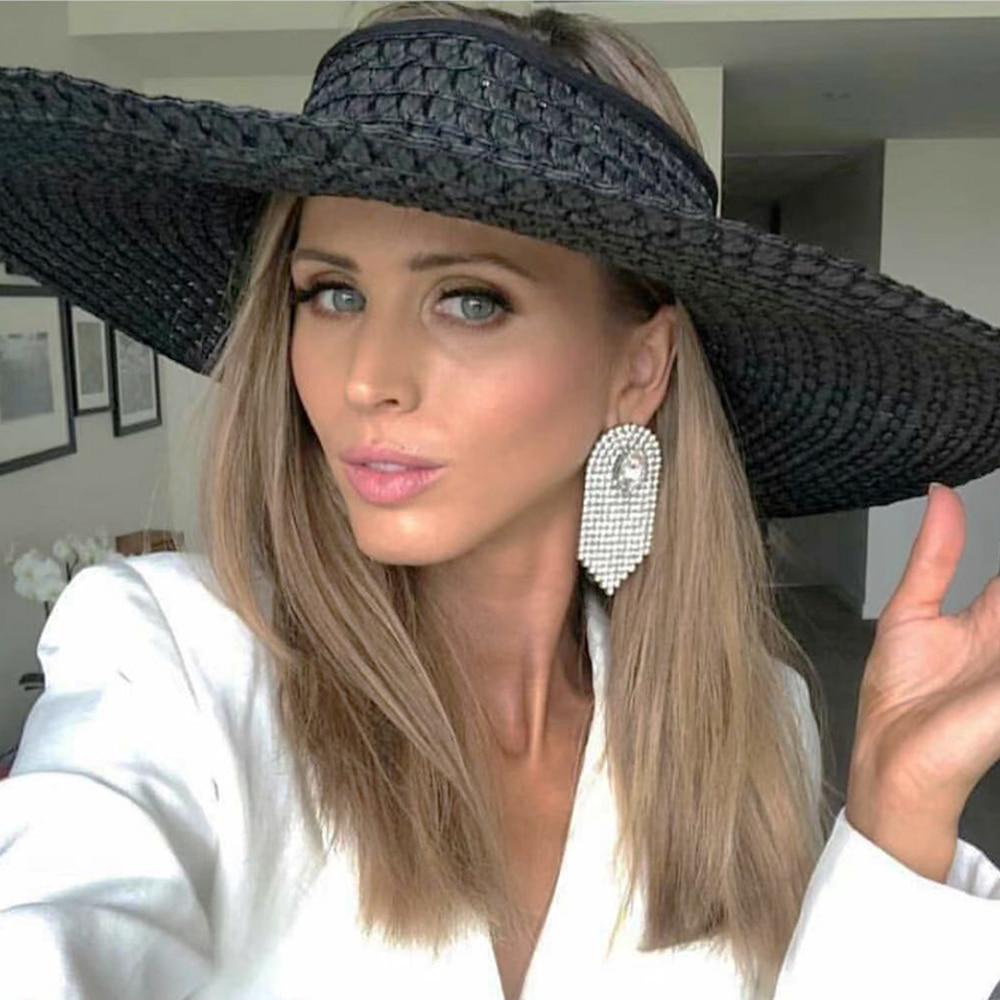 JIJIAWENHUA New Trend Ladies Rhinestone Tassel Earrings Hot Sale Jewelry Wedding Dinner Earrings Jewelry Accessories