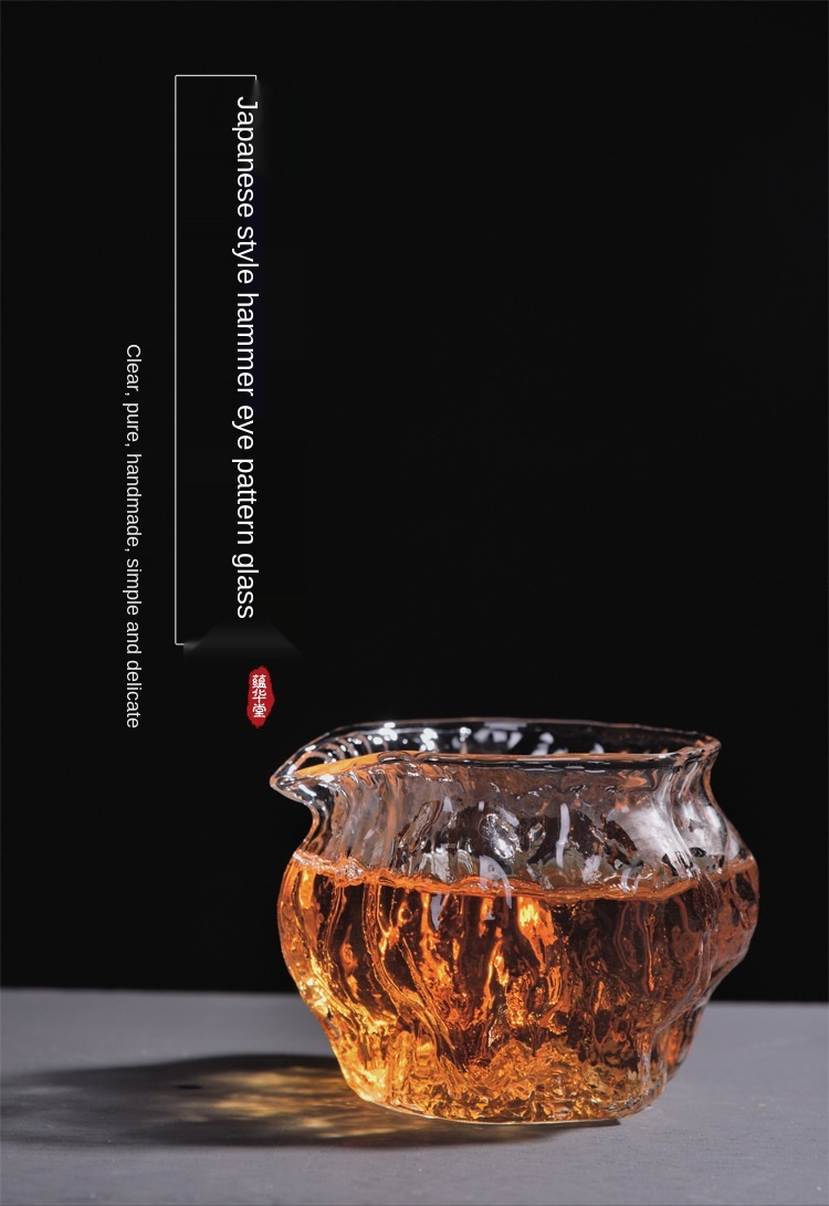 Japonês-estilo walnut martelo padrão jarro de vidro