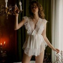 Babydoll White Lingerie Kawaii Underwear Panty-Pajamas Short-Dress Semi-Transparent Lace