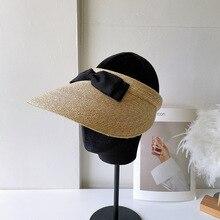 Japanese Hat Black Bow Straw Empty Top Hat Women's Summer Sun Hat Travel Lady Sun Hat  brim hat uv