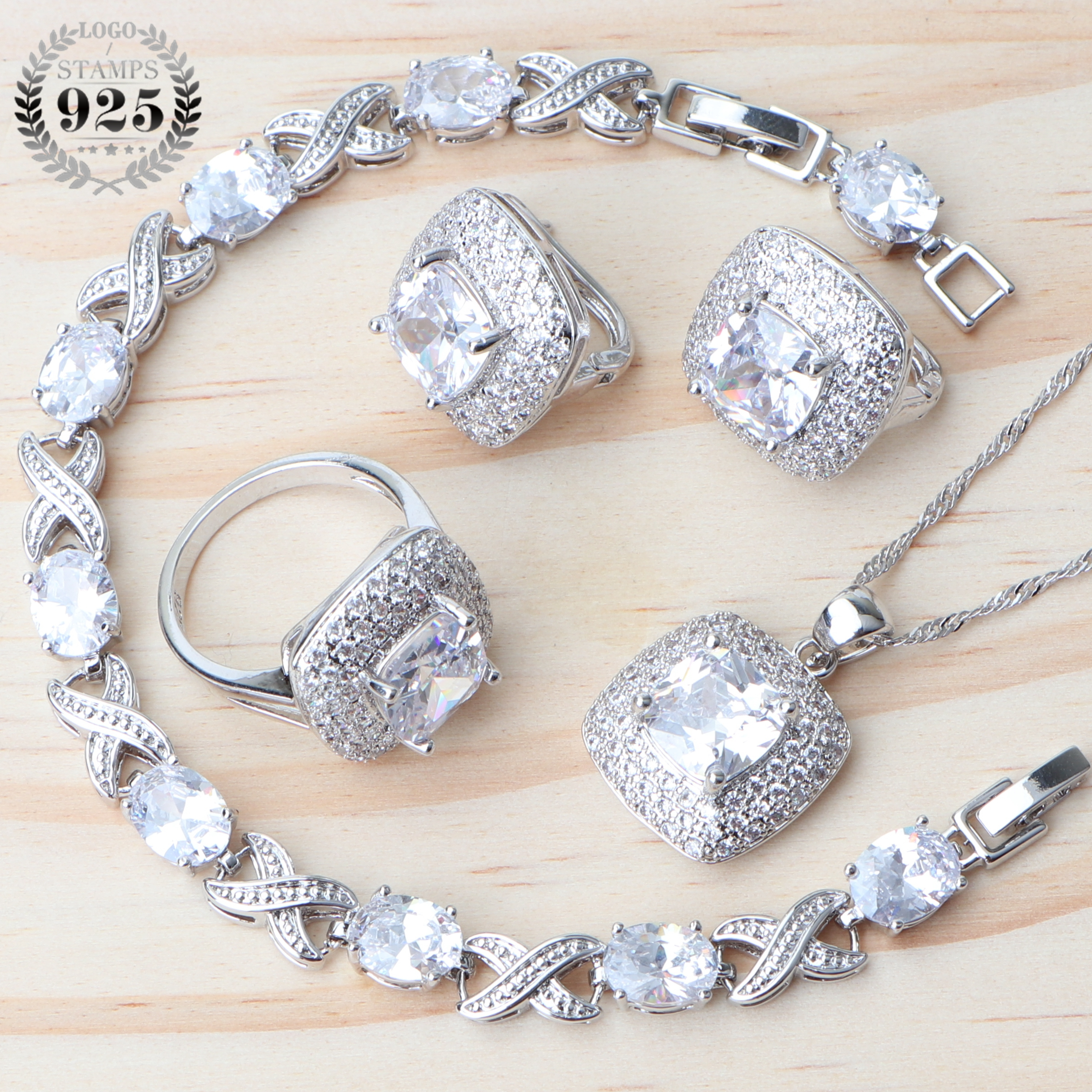 White Zirconia Women Silver 925 Jewelry Sets Earrings With Stone Pendant Necklace Rings Bracelet For Wedding Set Gifts Box
