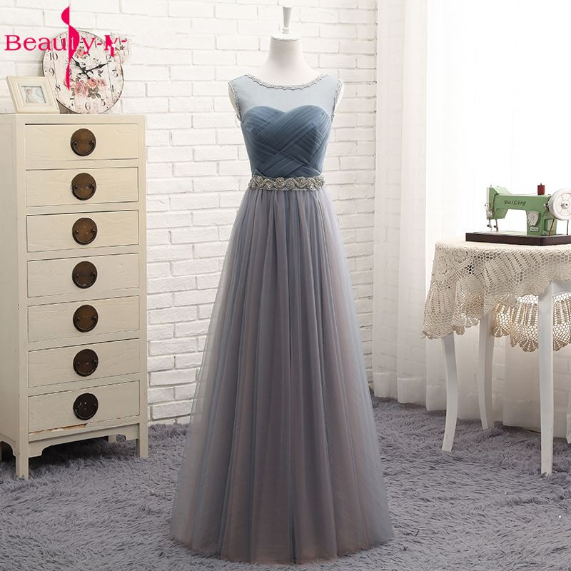 Beauty-Emily Hot Tulle V Neck Evening Dresses Long For Women 2020 Elegant Formal Party Dress A-line Prom Gown Plus size Vestido 4