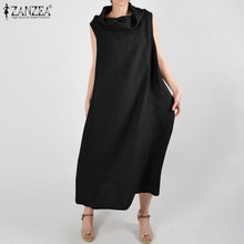 2020 Summer Long Dress ZANZEA Women Casual Baggy Cotton Maxi Vestidos Ladies 100% Cotton Sundress Sarafans Robe Femme Plus Size(China)