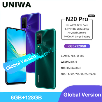 Купить Глобальная версия Doogee N20 Pro смартфон 6 ГБ ОЗУ 128 Гб ПЗУ 4400 мАч аккумулятор 6,3 дюймFHD + Дисплей Android 10 Quad задние камеры