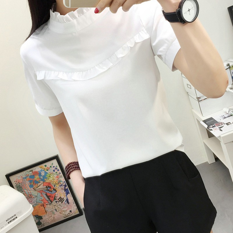 Women Blouse White Shirt Top Femme Casual Stand OL Work Solid Blouses 2 Styles