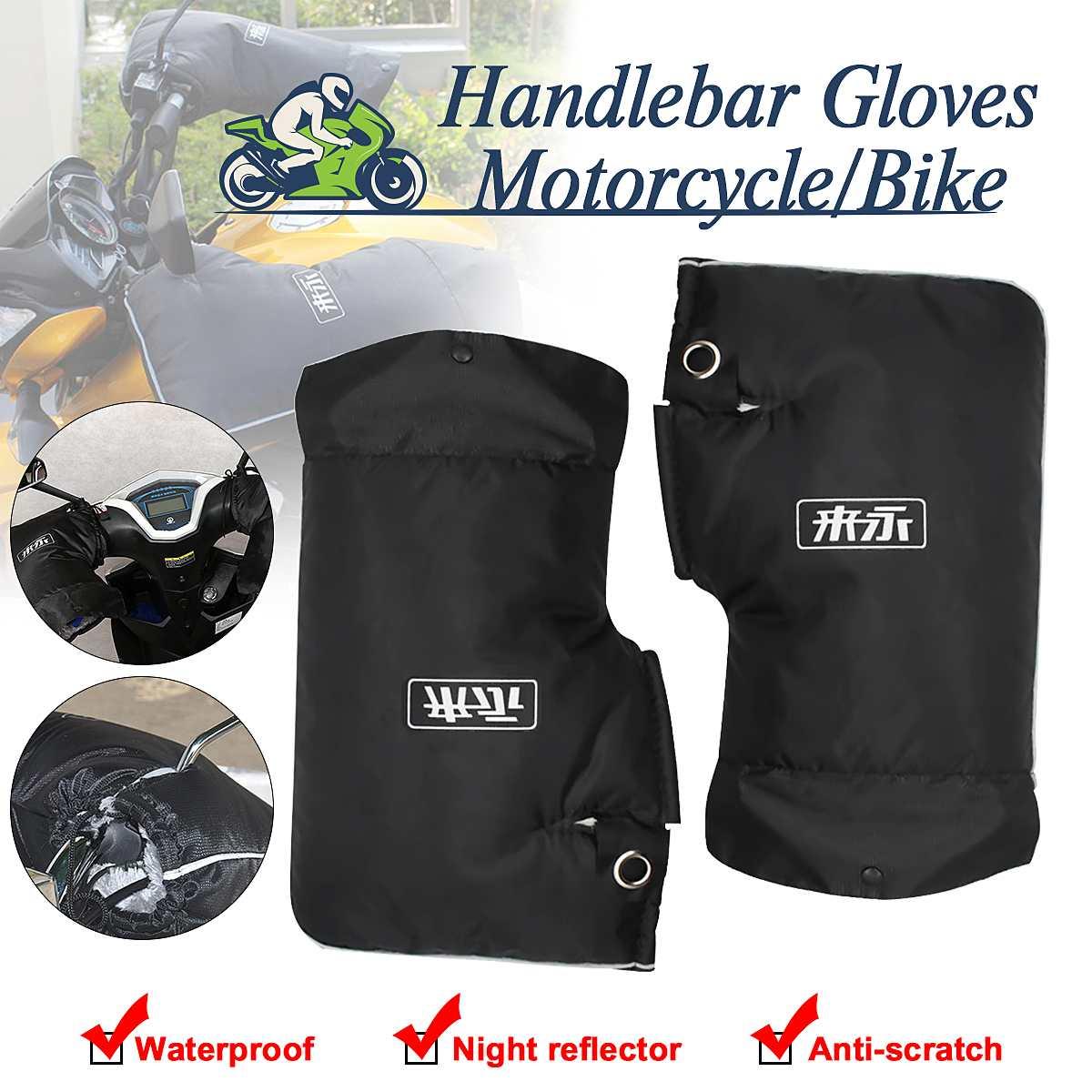 Winter Thermal Motorcycle kierownica do skutera rękawice wiatroszczelna wodoodporna noc odblaskowa rączka do motocykla osłona dłoni mufka