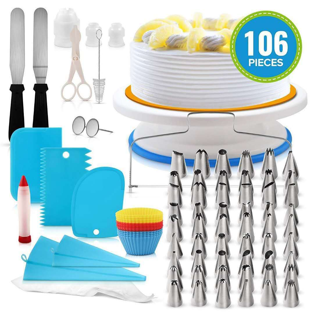 106PCS Cake Decorating Tools Kit Icing Tips Turntable Pastry Bags Couplers Cream Nozzle Baking Tools Set for Cupcakes Cookies title=
