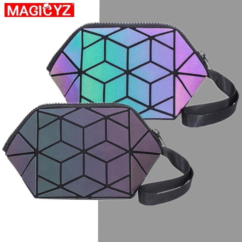 MAGCYZ Luminous Cosmetic Bag Travel Makeup Pouch Women Folding Makeup Bags Storage Bags Geometric Sequins Purse Mini Bag