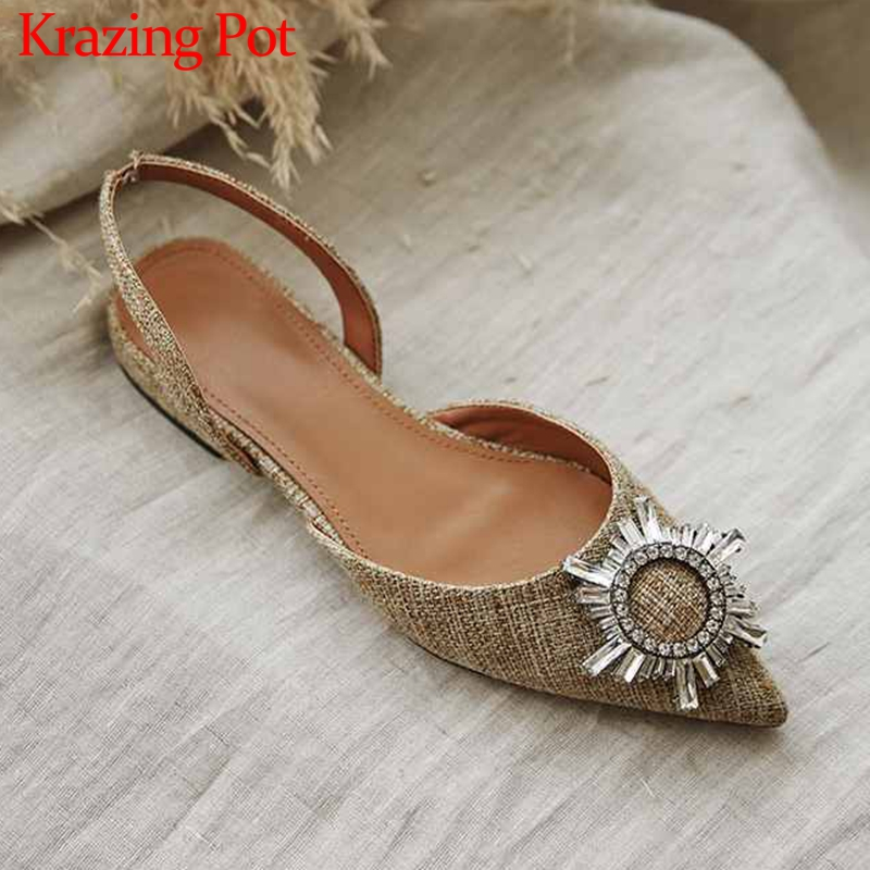 Krazing Pot Hot Fashion Shiny Crystal Decorations Pointed Toe Low Heels Women Fashion Comfortable Breathable Slingback Pumps L21