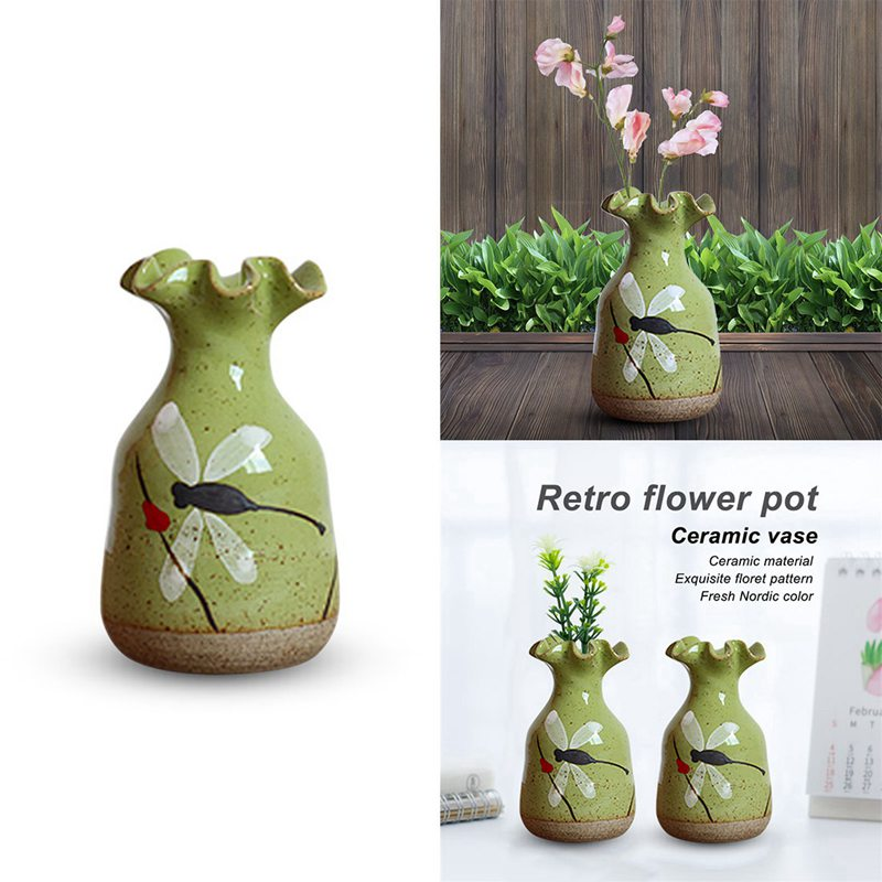 Ev ve Bahçe'ten Saksı ve Ekiciler'de El boyalı dragonfly retro çiçek tencere seramik vazolar basit yaratıcı çömlekçilik yeşil et yaratıcı su kültürü dekorasyon ev title=